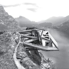 Here's another triangulated outcrop: Technische Universität Dresden students Philip Modest Schambelan and Anton Fromm have designed a hotel for mountain bikers for the edge of a cliff in Pregasina, Italy