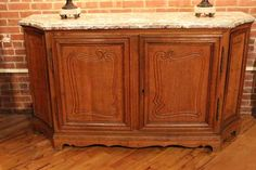 french marble top four door buffet