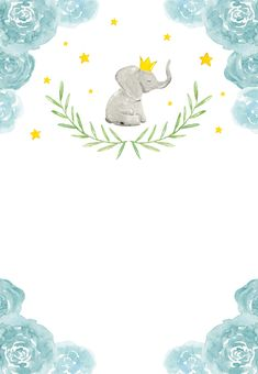 Elephant and floral wreath - Baby Shower Invitation Template (Free) Baby Boy Invitations, Baby Shower Invitation Templates, Shower Invitations, Clipart Baby, Framed Wallpaper, Baby Wallpaper, Baby Messages, Welcome Baby Boys, Baby Boy Cards