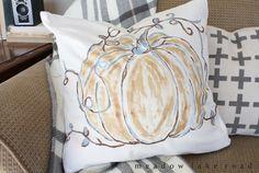 A Pottery Barn Inspired Pumpkin Pillow tutorial using SoSoft Fabric Paint - www.meadowlakeroad.com
