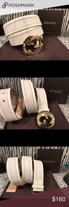 Authentic Men's Gucci Belt White Monogram * 100% Authentic * Made in Italy 🇮🇹                                                  * Comes with box and dust bag                             * Brand new with tags                                                                                * Amazing deal compared to MSRP $375 * Sizing made easy, just choose what size you wear pants in!  *** Bundling will save you money!! Buy more than one at a time!*** 💰 Gucci Accessories Belts