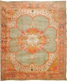 Antique Oushak rug, 13 7 x 16 Oriental Rugs Collection Persian Carpet, Persian Rug, Turkish Rugs, Textiles, Floral Rug, Plywood Furniture, Furniture Design, Tribal Rug, Floor Rugs