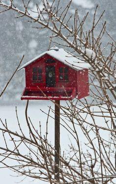 Wooden red birdhouse