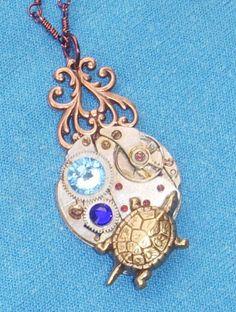 Vtg Steampunk 17 Ruby Jeweled Turtle Necklace LARP | eBay $12.99 http://cgi.ebay.co.uk/130820929517
