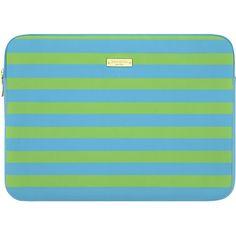 "kate spade new york - Candy Stripe Shamrock/Firoza Sleeve for 13"" Apple® MacBook® - Green - Larger Front"