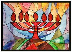 Menorah Wall Hanging, by Jeanette Kuvin Oren.  52 inches high x 72 inches wide. Made of hand-painted silks; the wall hanging is quilted and has black trim; the 2 inch border is black ultrasuede.