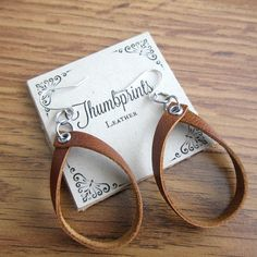 Leather Earrings Thumbprints Leather is branching out into the earring market!Thumbprints Leather is branching out into the earring market! Diy Leather Earrings, Leather Jewelry, Leather Craft, Leather Bracelets, Bar Earrings, Simple Earrings, Crystal Earrings, Jewelry Crafts, Handmade Jewelry