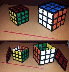 3D Rubik's Cubes hama beads by alfons05 - Pattern: https://de.pinterest.com/pin/374291419013696173/