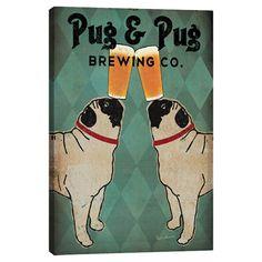 Pug and Pug BrewingCo. Canvas Print at Joss and Main
