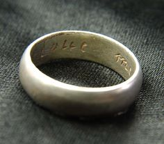 """17th-century gilt silver posey ring inscribed """"Love me only,"""" found at found at Llantilio Crossenny, Wales"""