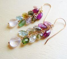 Watermelon Tourmaline earrings. Gold Tourmaline earrings. October birthstone. Libra birthstone gift. Summer Garden earrings. Pink Tourmaline