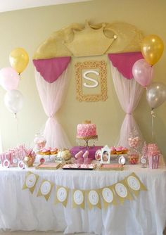 Pink + Gold Princess themed birthday party via Kara's Party Ideas