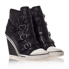 48e13b0c6f0f ASH Thelma Ter Womens Wedge Sneaker Black Leather 330359 (001)