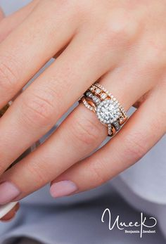 5d56384e3fd Uneek Round Diamond Halo Engagement Ring and Matching Wedding Band