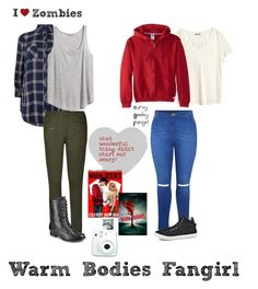 """Zombie Love Week: Warm Bodies"" by curvygeekyfangirl ❤ liked on Polyvore featuring H&M, City Chic and Russell Athletic"