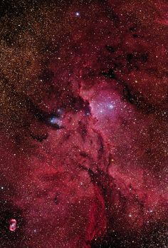 Crimson Flares. NGC 6188 is an emission nebula about 4000 ly away in the constellation Ara. Within NGC 6188 is an open cluster of bright young stars (the Ara OB1 association) known as NGC 6193. In the bottom left hand corner is a small emission nebula NGC 6164-5. The star in the middle of the nebula is believed to have created the gas cloud and causes it to glow by virtue of the UV light it emits. That gas was likely thrown off from the star, possibly by its fast rotation.