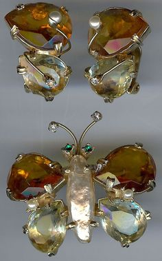 ALICE CAVINESS Vintage Faceted Glass Rhinestone BUTTERFLY Pin & Earrings Set