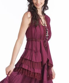 This Rancho Estancia Maroon Lace Ruffle Juliet Vest - Women by Rancho Estancia is perfect! #zulilyfinds