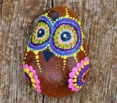 Colorfull Painted Owl on Pebbles - Natural Eco Nature Stone Rock  Art Craft Handmade Home, Office & Garden Decor.