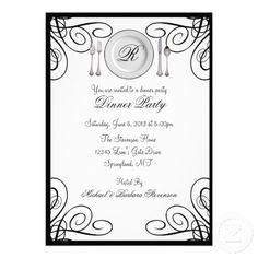 Simple and Elegant Dinner Party Invitations #dinnerparty #invitations #zazzle