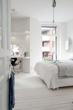 white, light, window desk & private terrace: the perfect room / via Alvhem