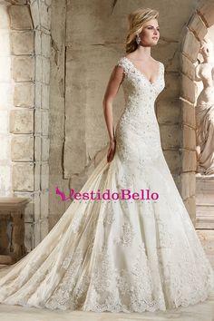 2015 V-cuello vestidos de novia vaina / columna de tren de la corte con apliques