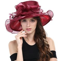 593fc5cc8639d Janey Rubbins Women Kentucky Derby Cocktail Organza Yarn Dress Hats Church  Caps (Black) at Amazon Women s Clothing store