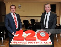<a gi-track='captionPersonalityLinkClicked' href=/galleries/search?phrase=Brendan+Rodgers+-+Soccer+Manager&family=editorial&specificpeople=5446684 ng-click='$event.stopPropagation()'>Brendan Rodgers</a> the new LFC manager (L) and Ian Ayre, managing director with a cake baked to celebrate the 120th Birthday of the club at Anfield on June 1, 2012 in Liverpool,England. On June 3rd 2012, LFC will be 120 years old, a date recognised as being that when Liverpool Football Club and Athletic…