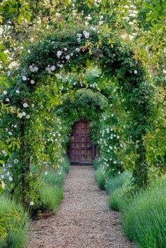 Garden door with archways of roses #garden #door