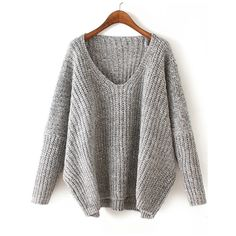 Grey Fall Plain Pullovers Loose V Neck Acrylic Casual Long Sleeve Knitwear, Size Available: one-size Sleeve Length: 67cm, Long Sleeve Length(cm): 69cm one-size…