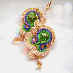 Soutache earrings grey, purple, cobalt, beige, gold, Swarovski Peridot