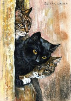 BLACK TABBY CAT ON THE LOOKOUT LIMITED EDITION PRINT PAINTING ANNE MARSH ART in…