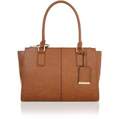 Accessorize Ada Double Zip Shoulder Bag (£55) ❤ liked on Polyvore featuring bags, handbags, shoulder bags, structured purse, structured tote, brown tote bags, structured tote bag and brown tote