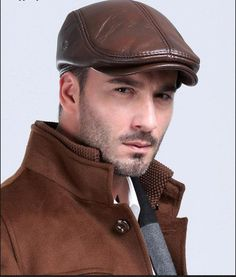 Happy-L Hat Color : Brown, Size : XXL Male Autumn Winter Leather Caps Leisure Warm Beret Single Layer Thin Section Hat,Leisure Fashion Cap.