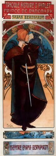 Poster for Sarah Bernhardt's 'Hamlet', 1899, by Alphonse Mucha (Czech, 1860-1939)