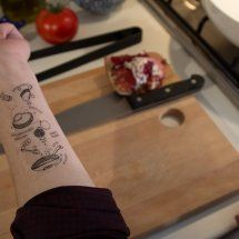Temporary tattoos of recipes to have a quick reference on your arm while cooking. LOOOOOOVE THIS.
