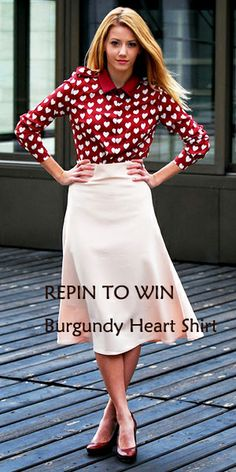 #REPINTOWIN this Burgundy Heart Shirt.  Ends on Feb. 27.   Big news: Burgundy Heart Shirt, $9.99 starting on 1 am 27th Feb GMT!  300 pieces for $9.99 only! Don't miss out.