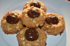 Super easy Crunchy Almond Butter Thumbprints with Dark Chocolate.