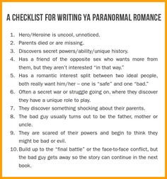 A checklist for writing ya paranormal romance writing prompts romance, writing art, writing advice Writing Prompts Romance, Book Writing Tips, Fiction Writing, Writing Art, Writing Help, Paranormal Stories, Paranormal Romance, Romance Novels, Ya Novels