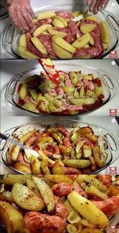 Batata com Linguiça ao Forno #batata #batatacomlinguiça #batatanoforno #receitadelinguiça