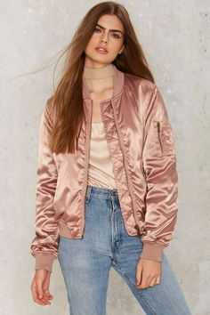 Lay It On Slick Satin Bomber Jacket