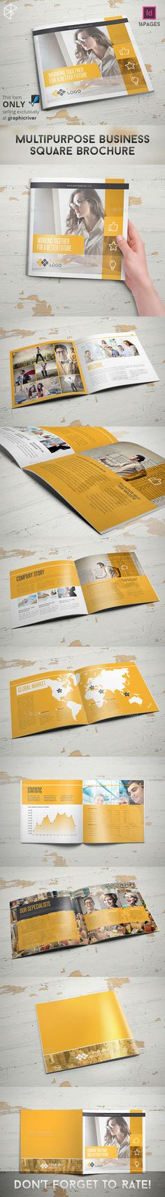 Multipurpose Business Square Brochure — InDesign INDD #business #indesign template • Available here → https://graphicriver.net/item/multipurpose-business-square-brochure/11376630?ref=pxcr