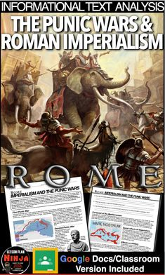 The Punic Wars & Roman Imperialism Infotext (Ancient Rome) Distance Learning History Lesson Plans, World History Lessons, Us History, Teaching History, Google Docs Classroom, Punic Wars, Ancient Rome, Countries Of The World, Social Studies