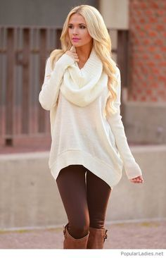 a9ee657bc4c Long white sweater design with brown pants and boots