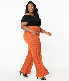 Unique Vintage Plus Size 1940s Orange Windowpane High Waist Ginger Pan 80s Womens Fashion, Iranian Women Fashion, Short Women Fashion, Retro Fashion, Vintage Brand Clothing, Sailor Fashion, Wide Pants, Plus Size Pants, Unique Vintage