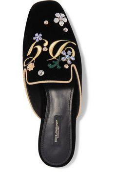 c4bfab648329 Dolce  amp  Gabbana - Embellished Embroidered Velvet Slippers - Black  Velvet Slippers