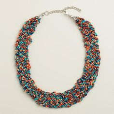 One of my favorite discoveries at WorldMarket.com: Soft Coral and Blue Bead Braided Necklace