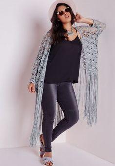 Plus Size Crochet Long Tassel Cardigan Grey