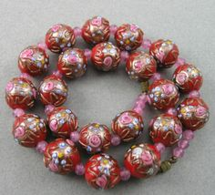 Vintage Gorgeous Red Venetian Wedding Cake Glass Beads Necklace, Murano, Italy