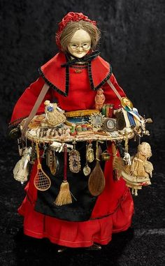 Landmark, The Margaret Lumia Collection: 324 Early Paper Mache Peddler Lady Doll with Dolls and Novelties Old Lady Costume, Costume Zombie, Halloween Costumes, Homecoming Spirit Week, Mad Hatter Costumes, Costume Collection, Creepy Dolls, Vintage Barbie Dolls, Wooden Dolls